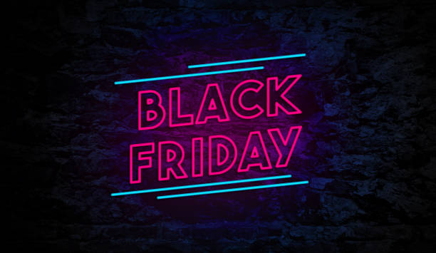 Black Friday Neon Sign on Brick Wall Black Friday Neon Sign on Brick Wall Background black friday sale neon stock pictures, royalty-free photos & images