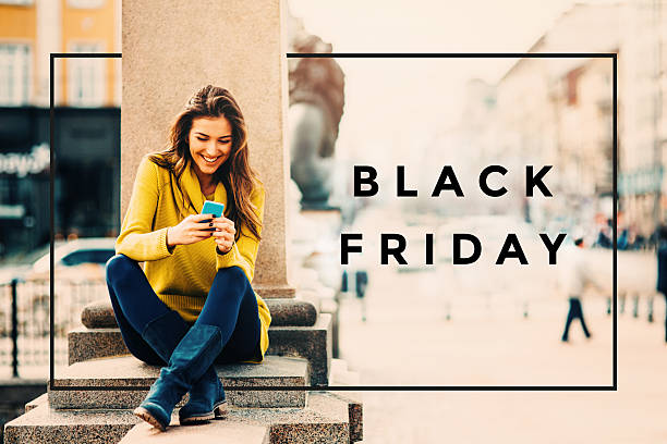 black friday  - mobiles internet stock-fotos und bilder
