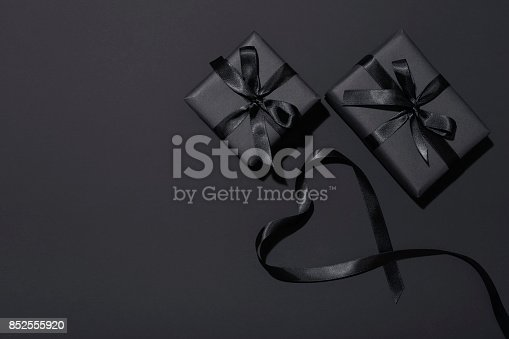 istock Black Friday presents flat lay 852555920