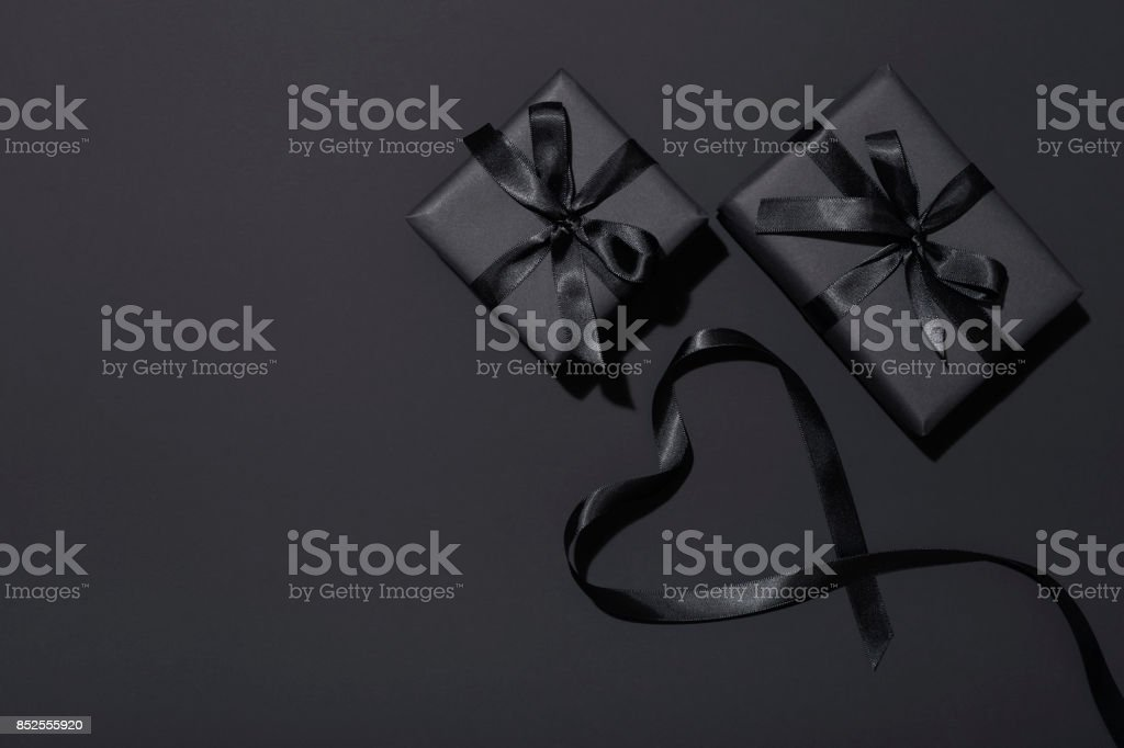 Black Friday presents flat lay stock photo
