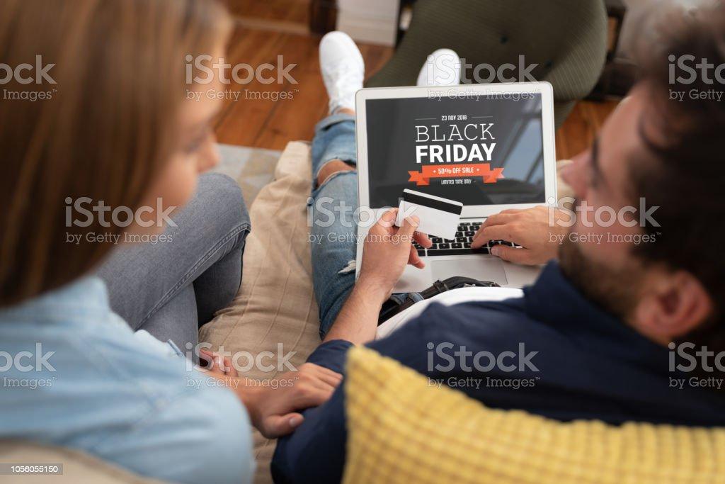 Black Friday promotion sale on laptop screen stock photo