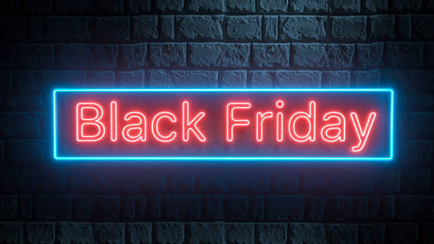 Black Friday - red and blue neon 3d sign on brick wall. Business and shopping banner stock photo