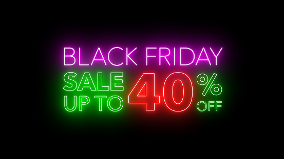 Black Friday sale colorful neon sign banner in black background for promote. concept of promotion brand sale series 10-90%