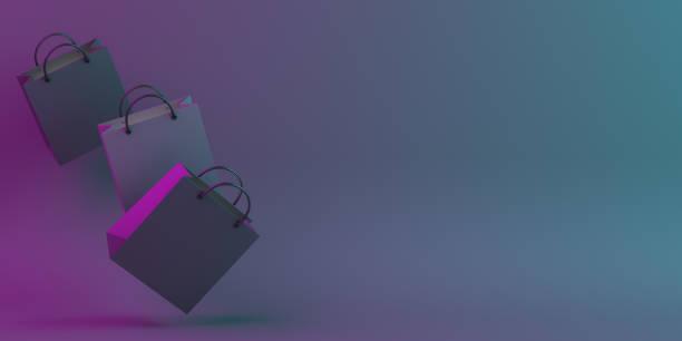 black friday verkauf event-design kreatives konzept, fliegende einkaufstasche auf schwarz blau lila neon farbverlauf hintergrund studiobeleuchtung, kopie space textbereich. - neontasche stock-fotos und bilder