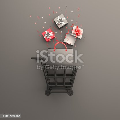 istock Black friday sale event design creative concept, trolley cart, shopping bag, gift box, confetti on black background studio lighting, copy space text area. 1181589945