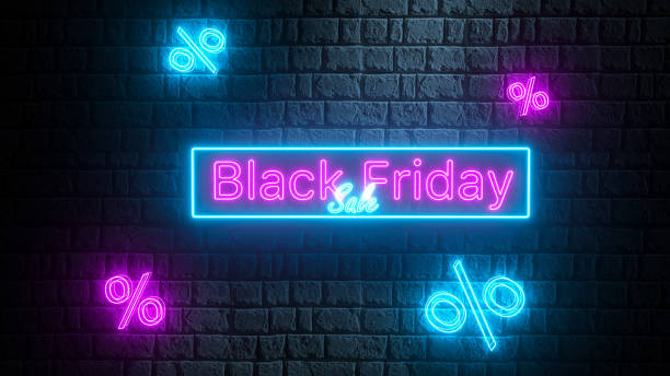 Black Friday Sale - glowing neon sign on brick wall with percents .3D Modern neon billboard. Concept of advertising for seasonal offer stock photo