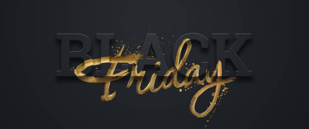 lettres d'or d'inscription de vente de vendredi noir sur un fond noir, bannière horizontale, modèle de conception. espace de copie, fond créatif. illustration 3d, conception 3d. - black friday photos et images de collection