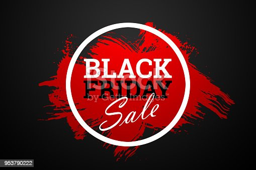 istock Black Friday sale inscription on abstract ink blots. Black Friday template for your banner or poster. Sale and discount. 953790222