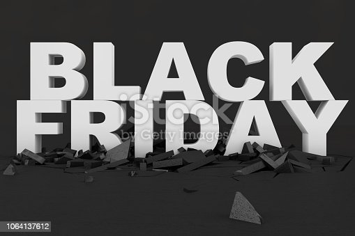 istock Black Friday, sale message for shop. Business shopping store banner for Black Friday. Black Friday crushing ground. 3d text in black and white color. Modern design. 3D illustration 1064137612