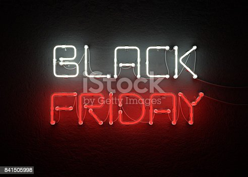 istock Black friday sale neon background 841505998