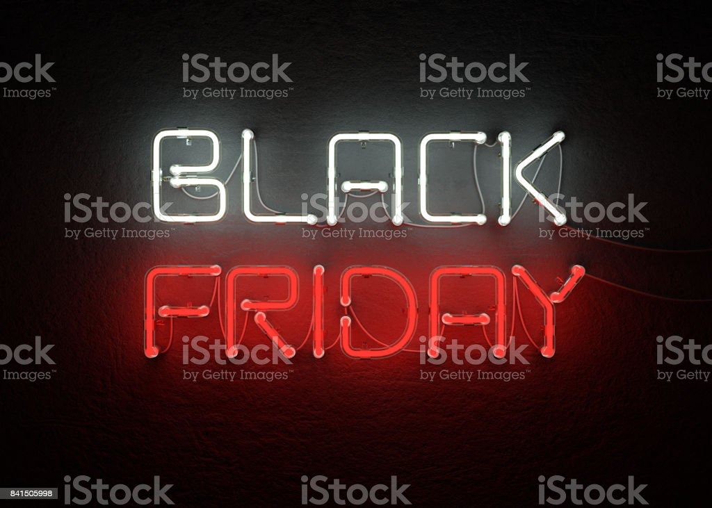 Black friday sale neon background stock photo