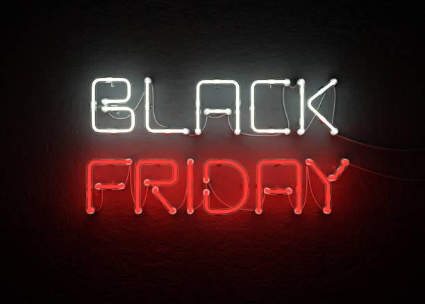 Black friday sale neon background stock photo
