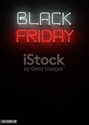 istock Black friday sale neon with copy space. 841506148