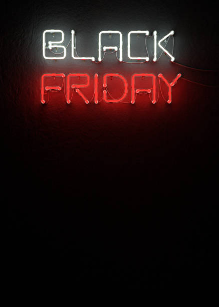 Black friday sale neon with copy space. stock photo