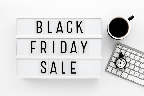 Black friday sale on white table stock photo
