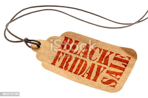 istock Black Friday Sale sign on paper price tag 860318798