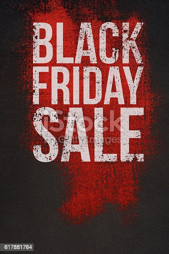 istock Black Friday Sale Text on dark and Red Background 617881764