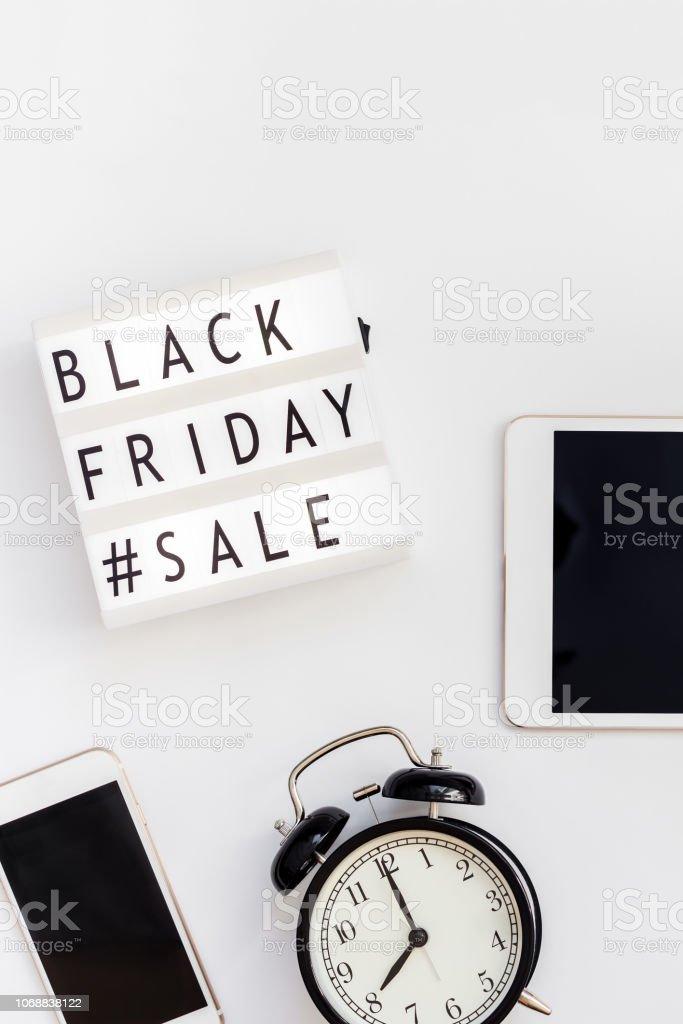 Black Friday Sale Text On White Lightbox Stock Photo