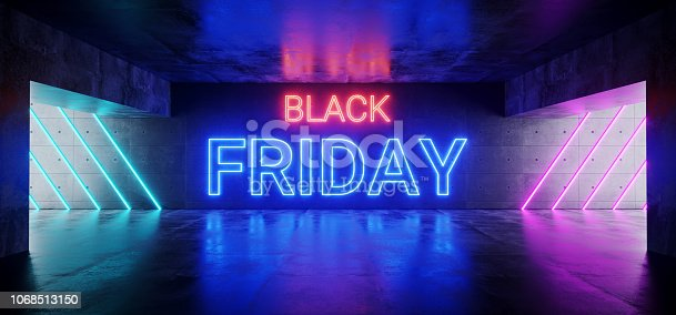 istock Black Friday Sci Fi Futuristic Modern Neon Pink Red Blue Glowing Neon Tube Sign On Grunge Reflective Concrete Dark Empty Room Underground 3D Rendering 1068513150