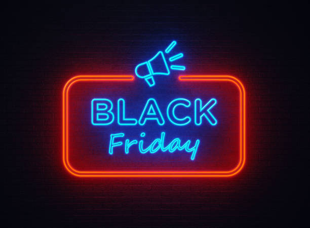 Black Friday Shaped Neon Light On Black Wall Black Friday shaped red neon light on black wall. Horizontal composition with copy space. black friday sale neon stock pictures, royalty-free photos & images