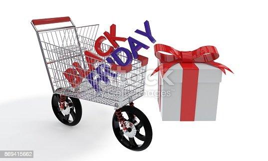 istock Black Friday shopping car, 3d rendering 869415662