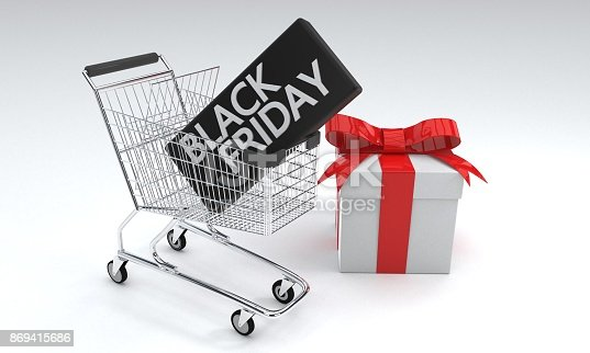 istock Black Friday shopping car concept, 3d rendering 869415686