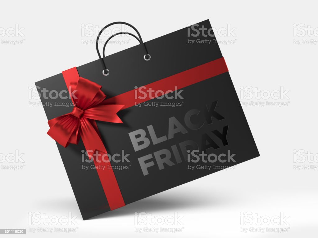 Black Friday Shopping Concept: Black Shopping Bag Isolated On White Background stock photo
