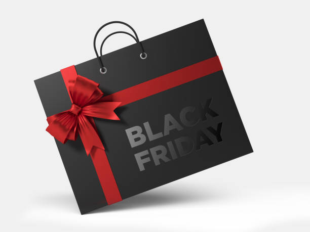 Black Friday Shopping Concept: Black Shopping Bag Isolated On White Background stock photo