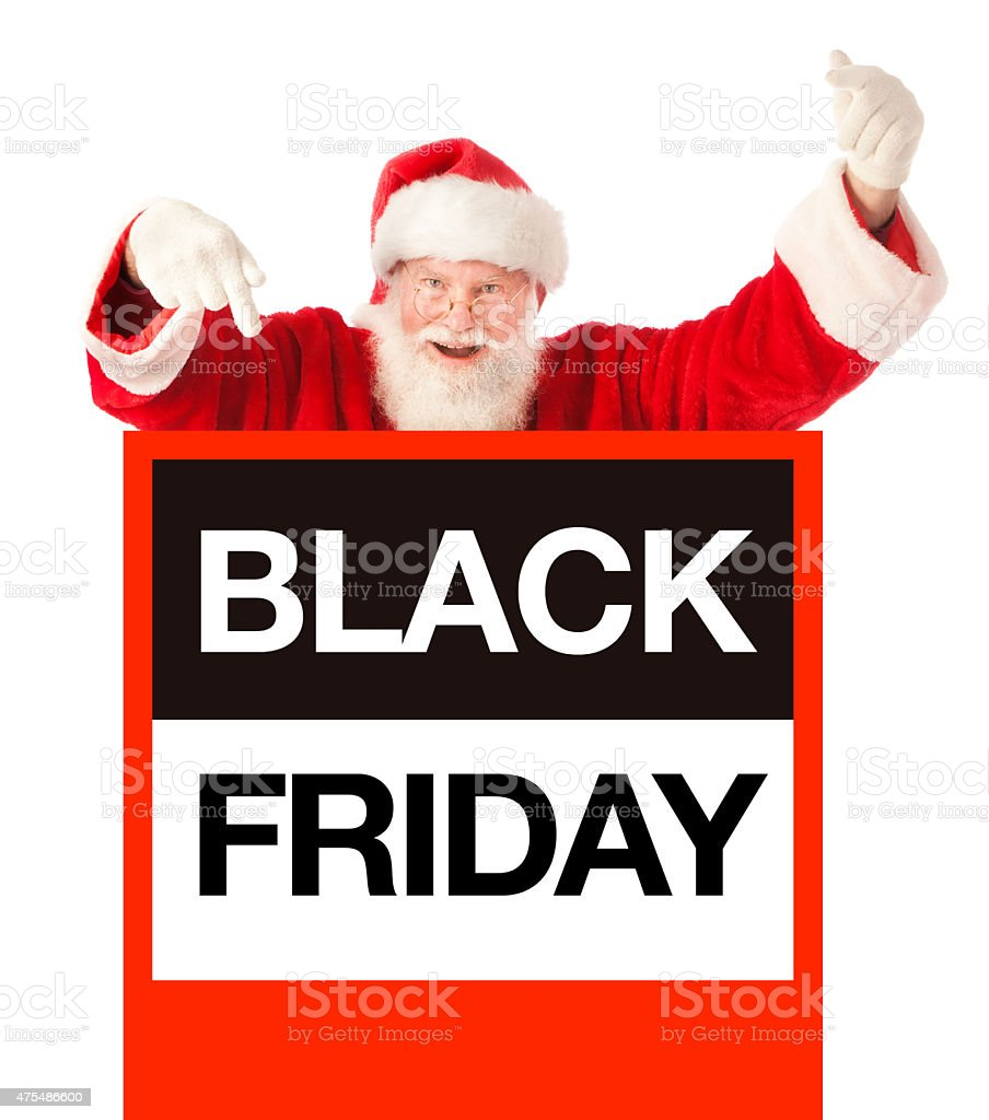 Black Friday Shopping Sign With Christmas Santa Claus White Background Stock Photo Download Image Now Istock