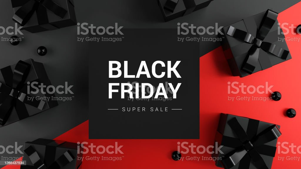Black Friday Super Sale. Realistic black gifts boxes on dark and red background. Banner poster, header website. 3d render. - Royalty-free Aberto Foto de stock