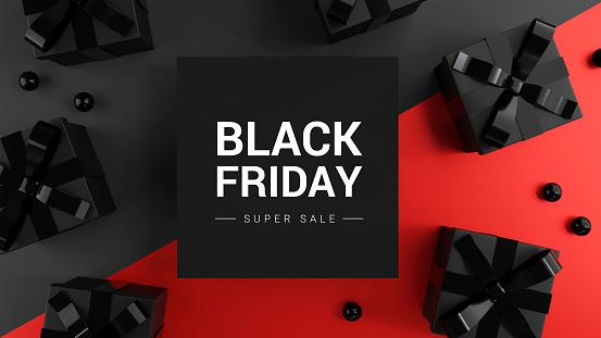 Black Friday Super Sale. Realistic black gifts boxes on dark and red background. Banner poster, header website. 3d render.