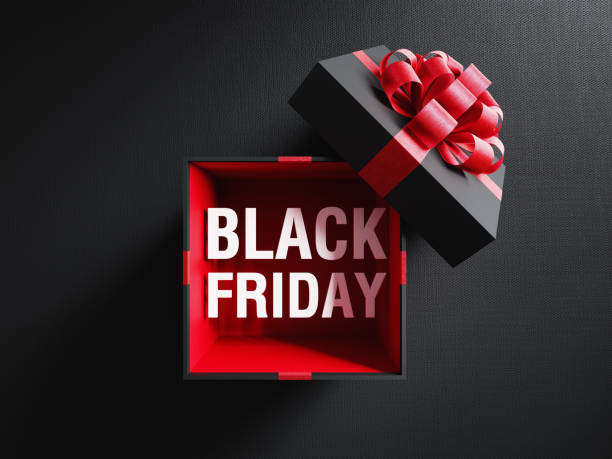 Black Friday Text Coming Out Of A Black Gift Box Tied With Red Ribbon Black Friday text is coming out of a black gift box tied with red ribbon on black background. Horizontal composition with copy space. Directly above. Great use for Black Friday concepts. black friday sale background stock pictures, royalty-free photos & images