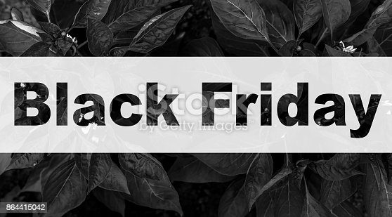 istock Black Friday text on dark leaves pattern 864415042