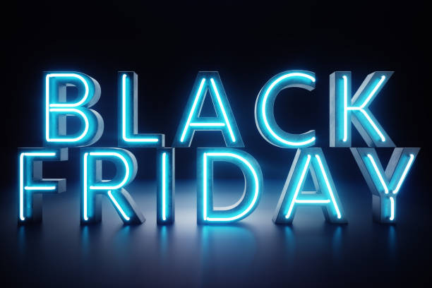 Black Friday - The Most Expected Sale of the Year. Neon Blue 3D banner. Grand Discounts. Only once a year, maximum discounts. Sales, joy, success. 3D illustration stock photo