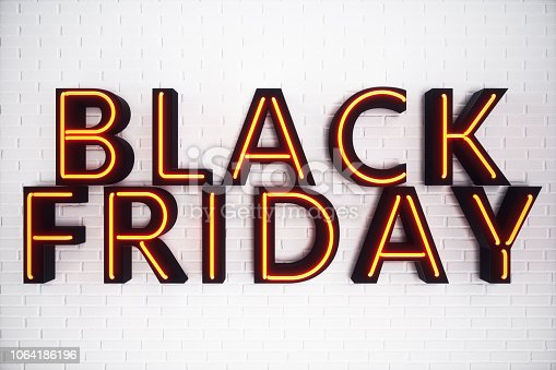 istock Black Friday - The Most Expected Sale of the Year. Neon Red 3D banner. Grand Discounts. Only once a year, maximum discounts. Sales, joy, success. 3D illustration 1064186196