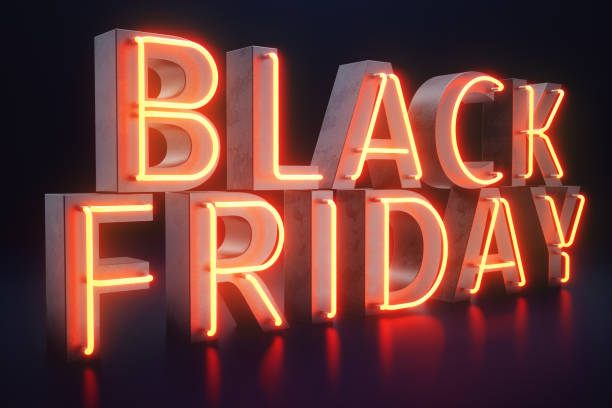 black friday - the most expected sale of the year. neon red 3d banner. grand discounts. only once a year, maximum discounts. sales, joy, success. 3d illustration - black friday imagens e fotografias de stock