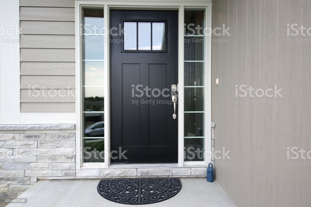 Black Front Door stock photo