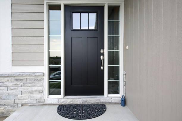 Black Front Door modern door front door stock pictures, royalty-free photos & images