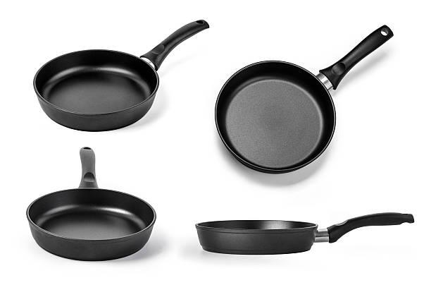 black frying pan - bratpfanne stock-fotos und bilder