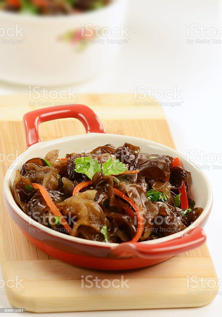 Black Fungus in Vinegar Sauce stock photo