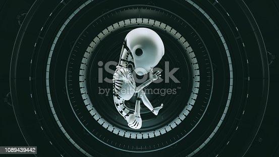 istock Black Futuristic Artificial Intelligence Embryo Baby 1089439442
