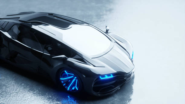 black futuristic electric car with blue light. Concept of future. 3d rendering. stock photo