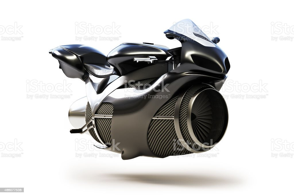 Black futuristic turbine jet bike concept stock photo