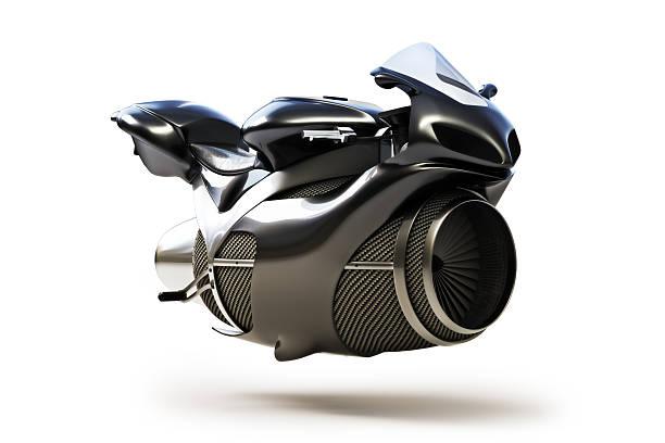 preto futurista motor a jato conceito de bicicleta - exhaust white background imagens e fotografias de stock