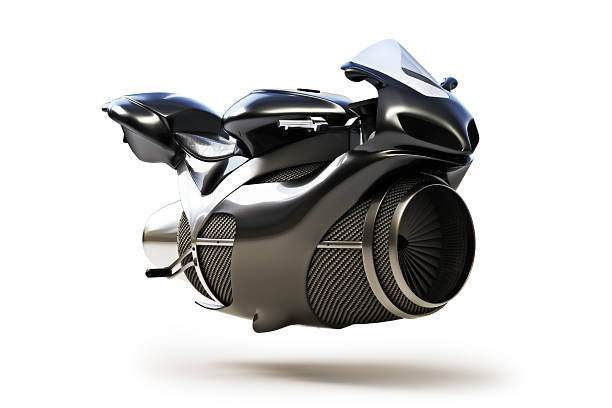 black futuristic turbine jet bike concept - land vehicle stock photos and pictures