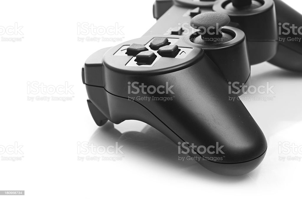 black game controller isolated on white background stock photo