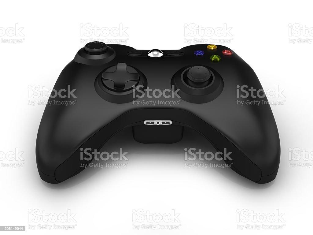 black gamepad isolated on white background 3d stock photo