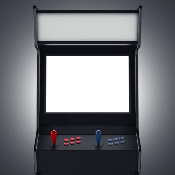 schwarze gaming-maschine. 3d-rendering - arkade stock-fotos und bilder