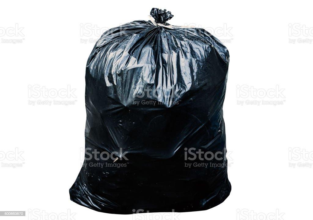 Black garbage bag isolated on white background stock photo