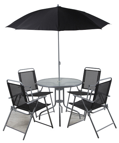 Black garden Table & Chair Sets,A black table with four chairs and a sun umbrella,Garden Furniture